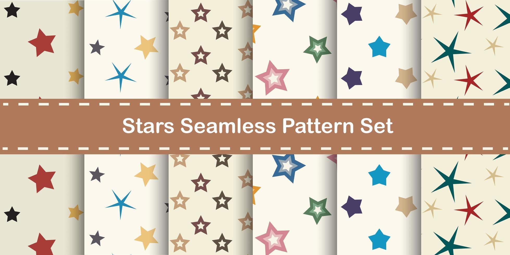 Stars seamless pattern set vector