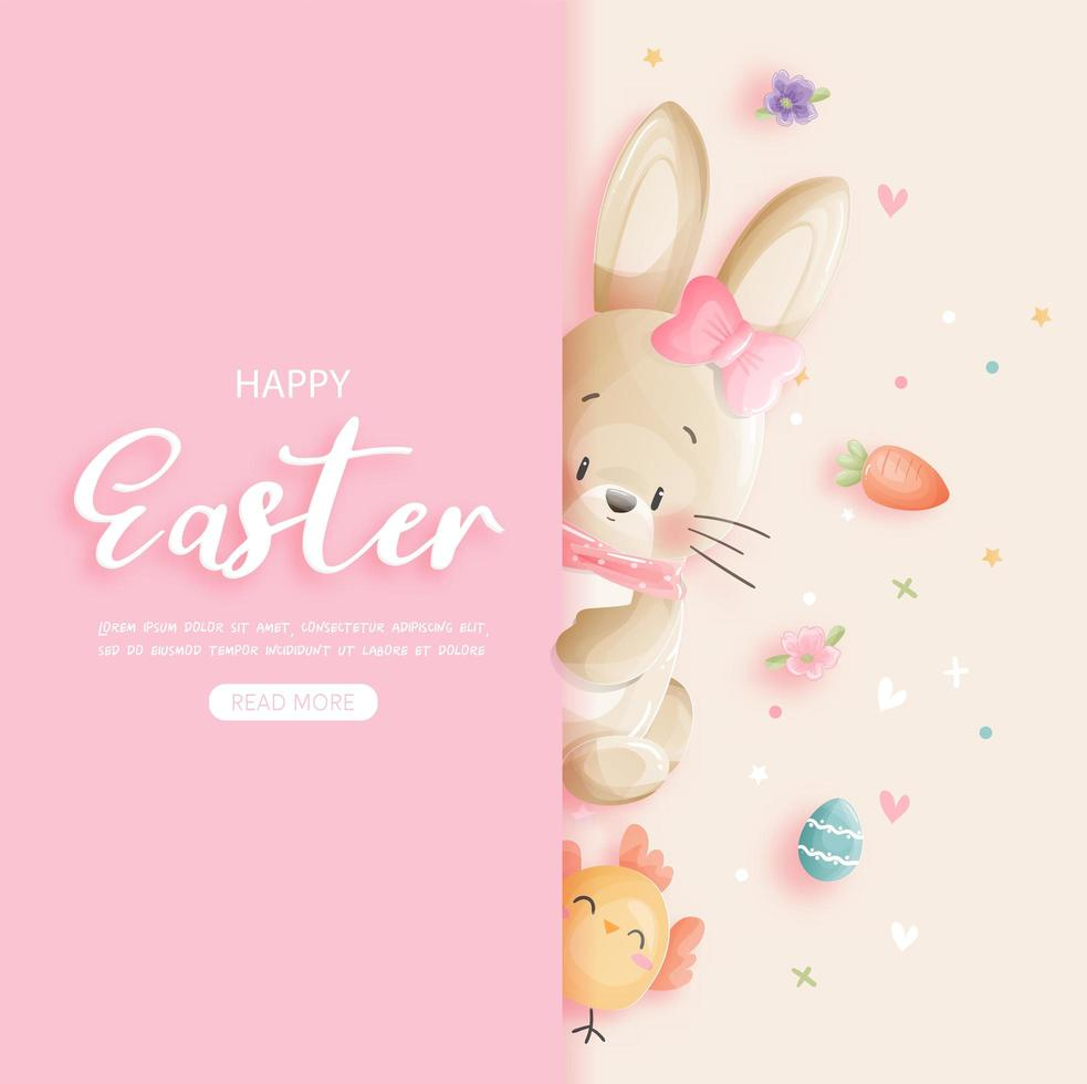 Easter card with  bunny peaking around corner vector