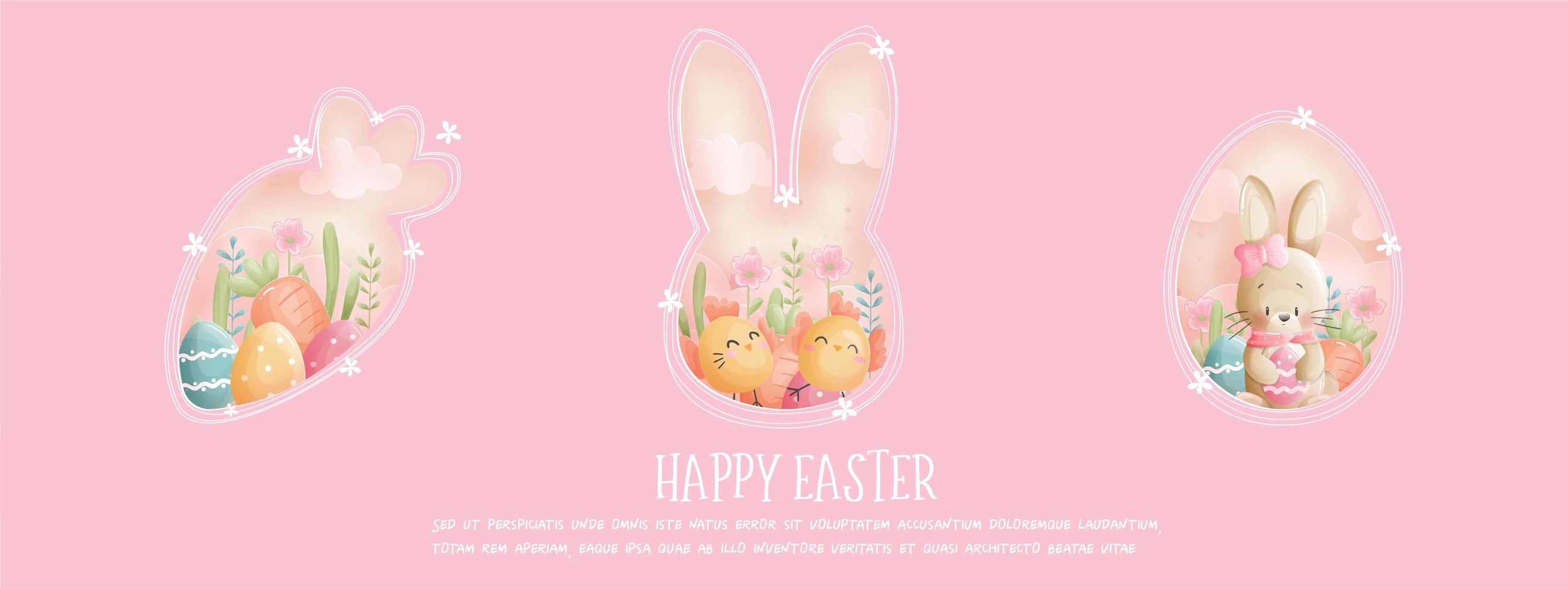 Happy Easter pink banner with bunny and chicks vector