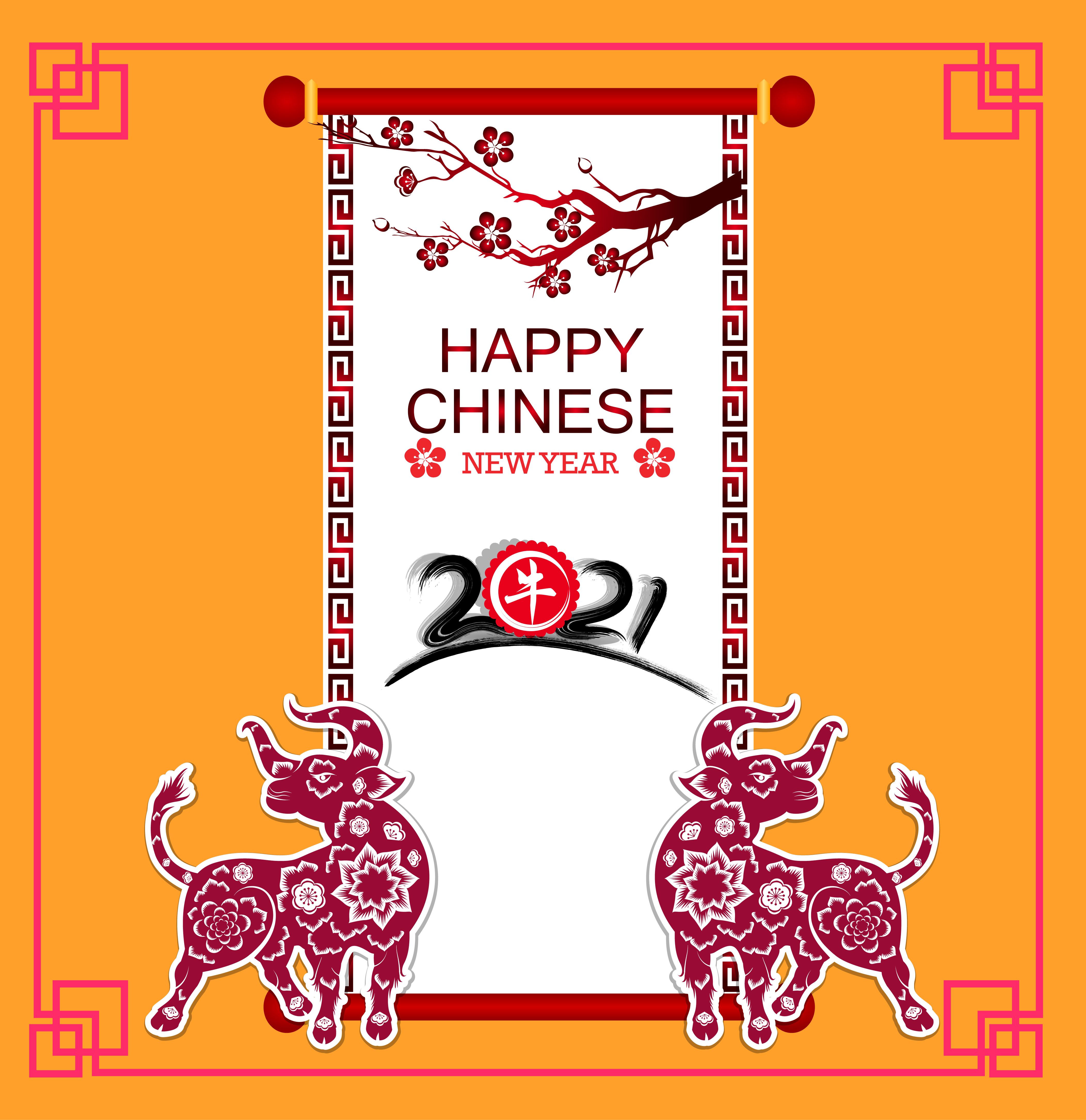 Happy chinese new year 2021 ox card - Download Free ...