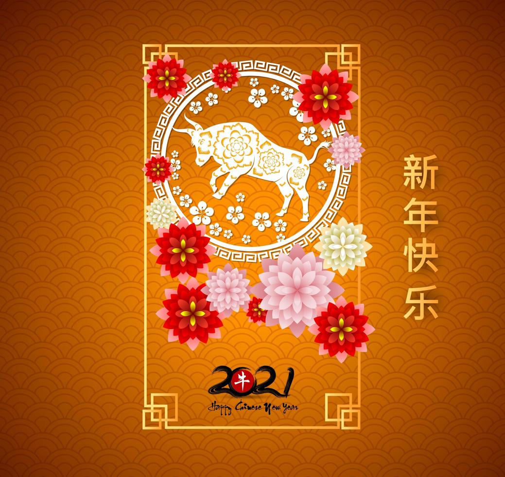 Happy chinese new year 2021 orange greeting card vector