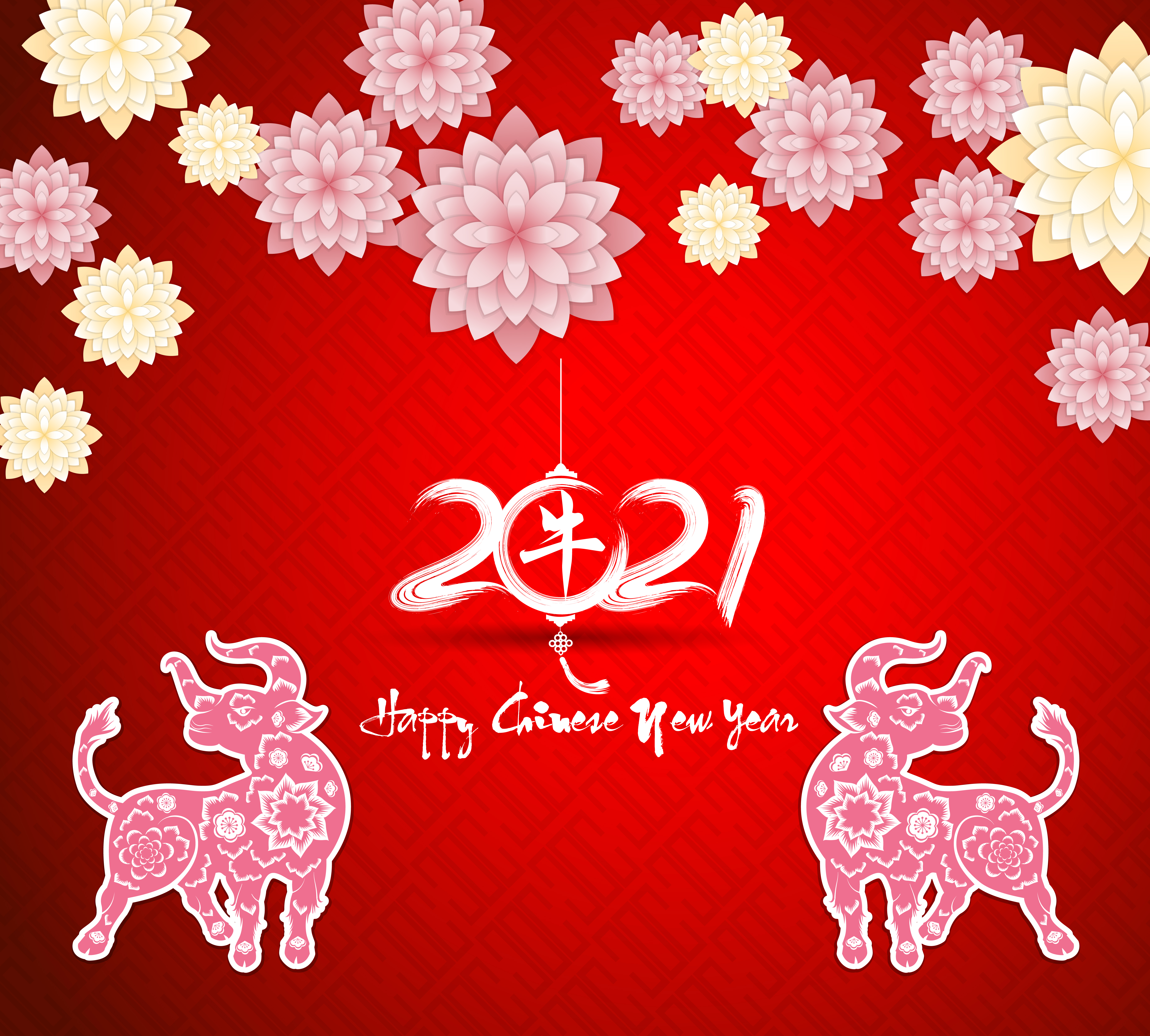 Chinese new year 2021 greeting on red - Download Free ...