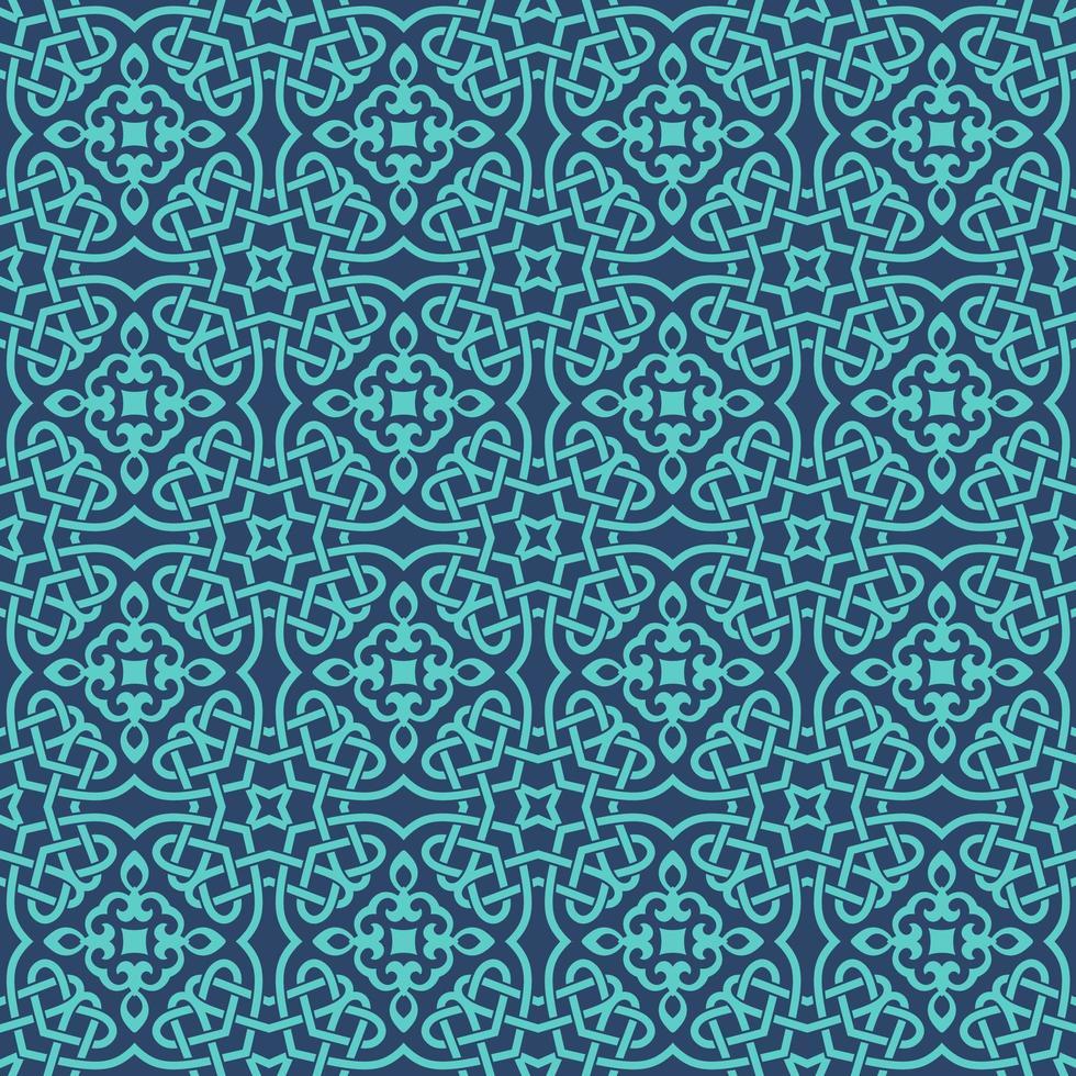 Blue with Aqua Details Geometric Pattern vector