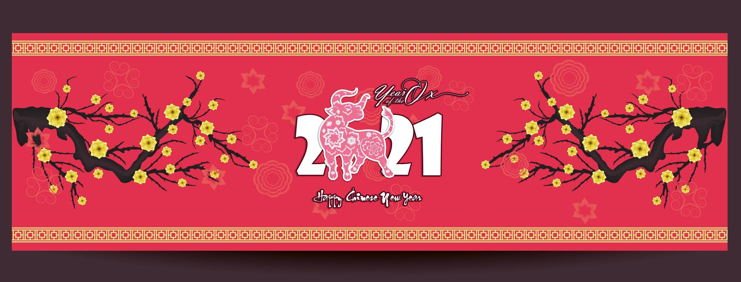 banner para el año nuevo chino 2021 vector