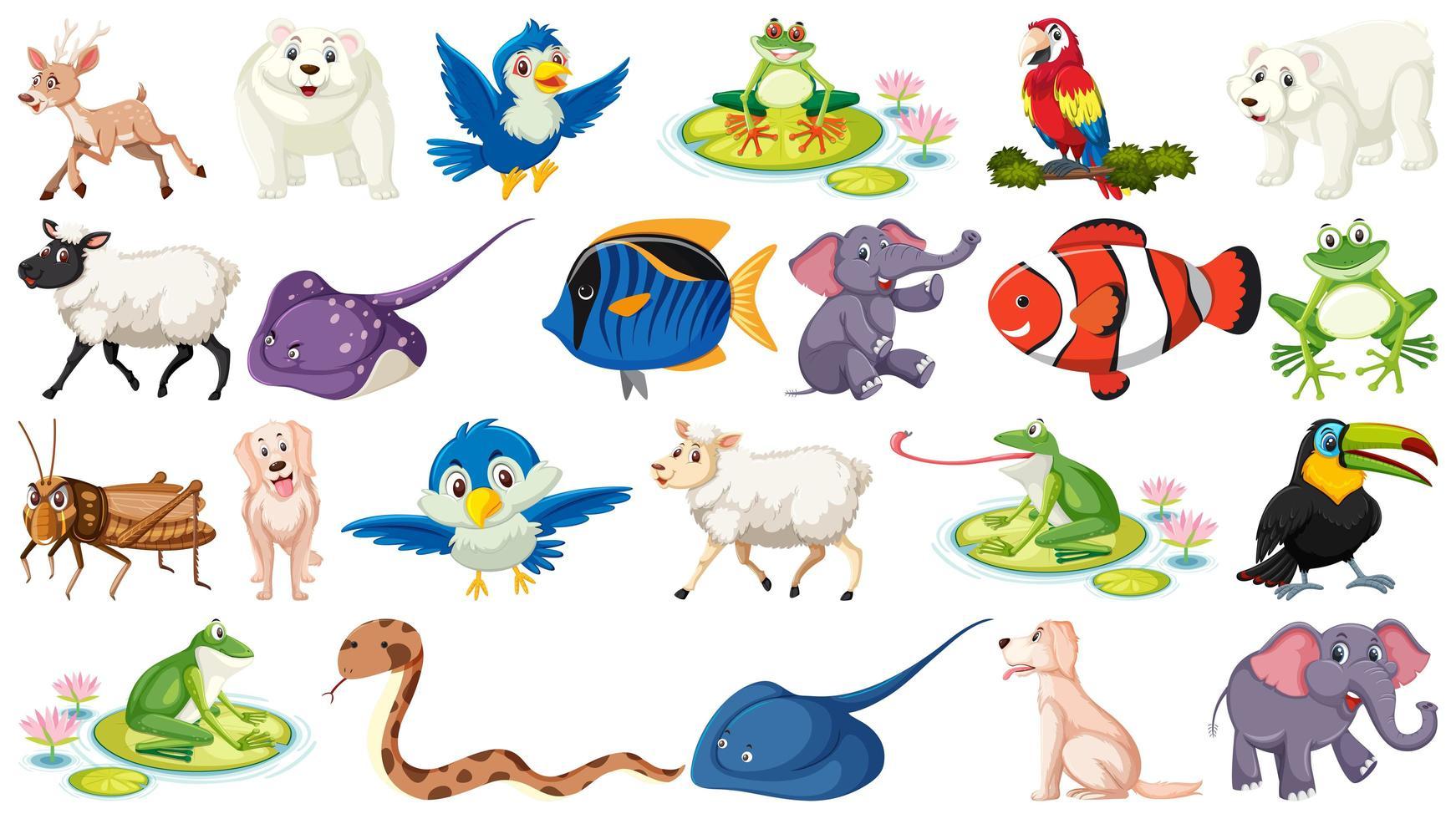 conjunto de dibujos animados iish y animales salvajes - Descargar ...