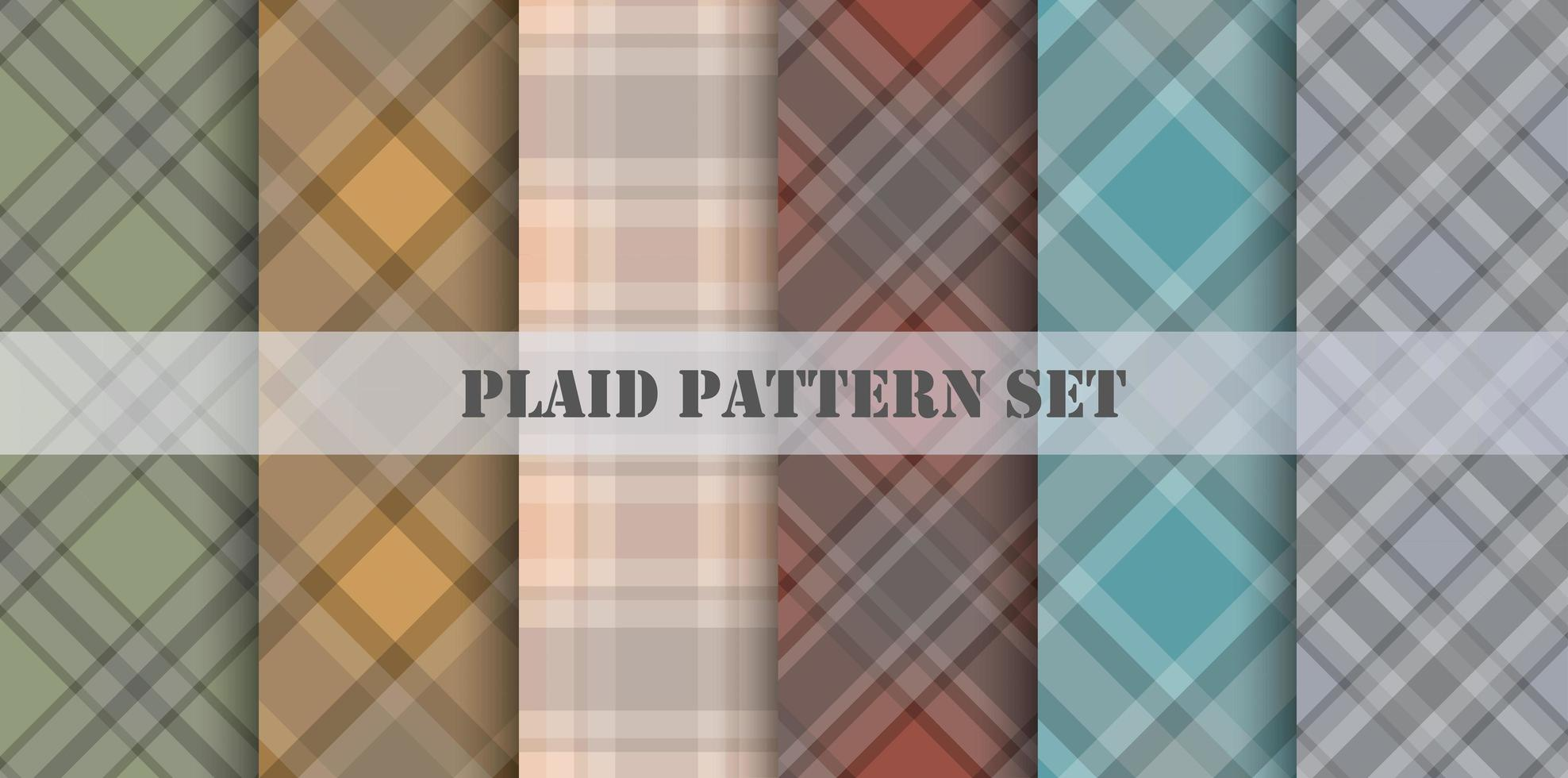 Plaid Patterns Various Colors Set vector