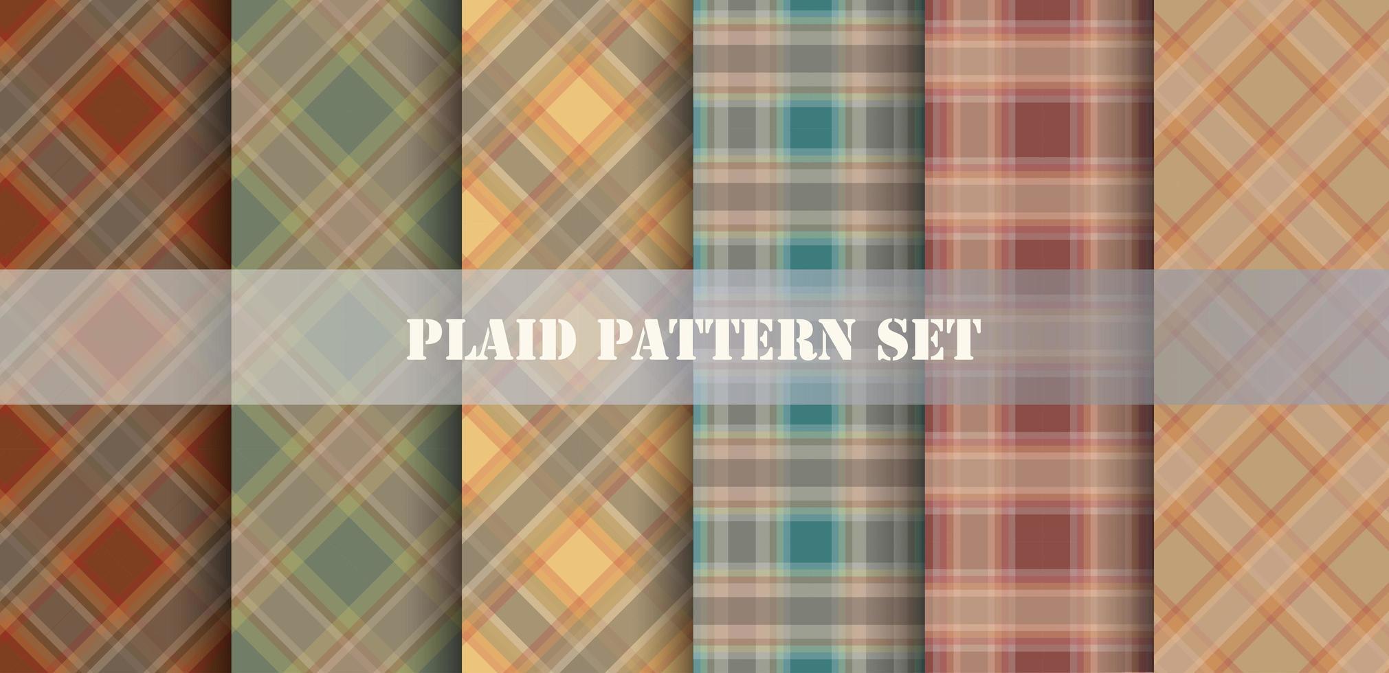Plaid Orange and Blue Patterns Set vector