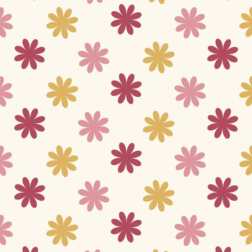 Seamless red and pink  flower pattern  vector