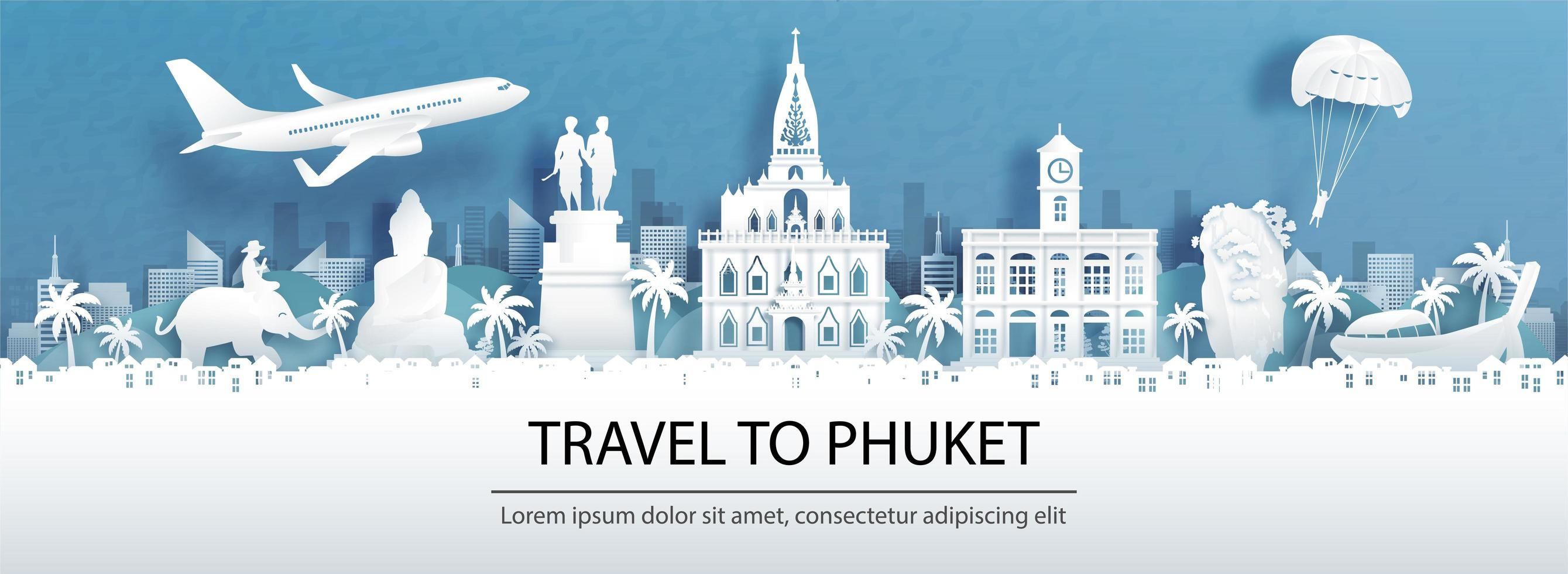 Travel advertisment for Phuket, Thailand with panorama view vector