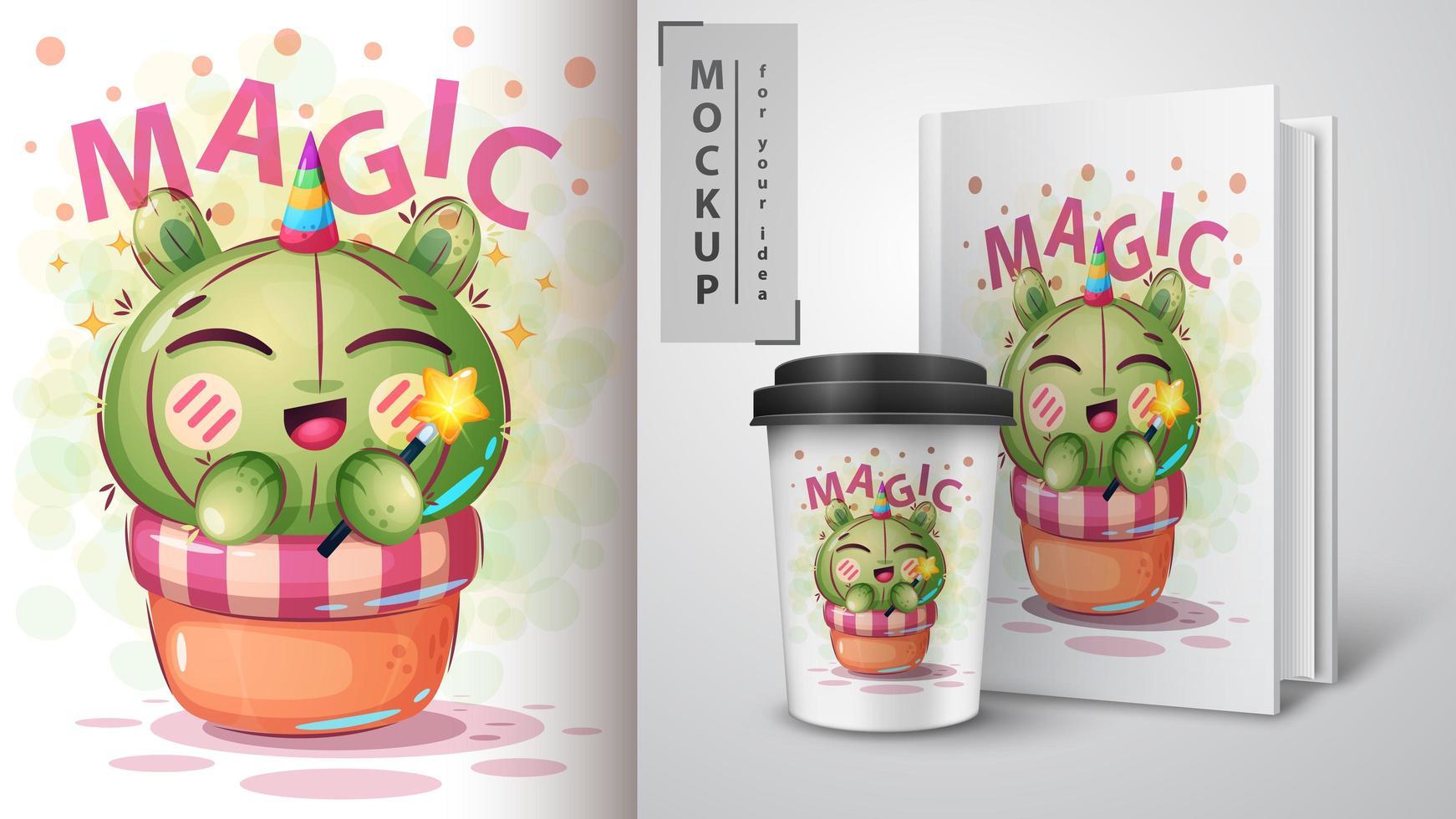Cartoon Magic Unicorn Cactus Design vector