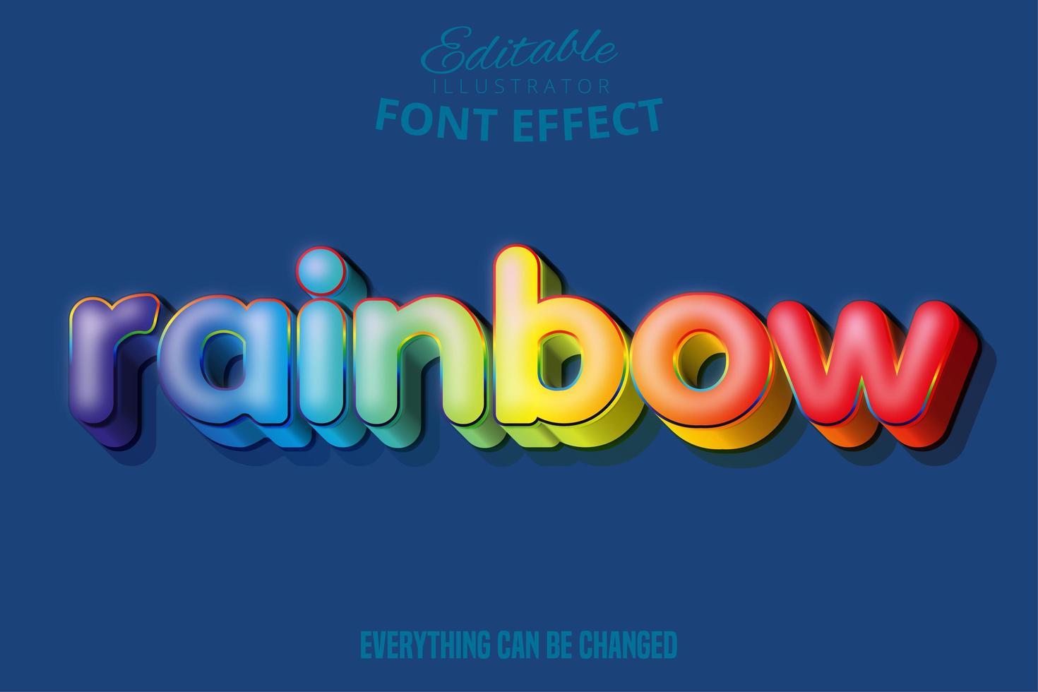 efecto de texto del arco iris, texto editable vector