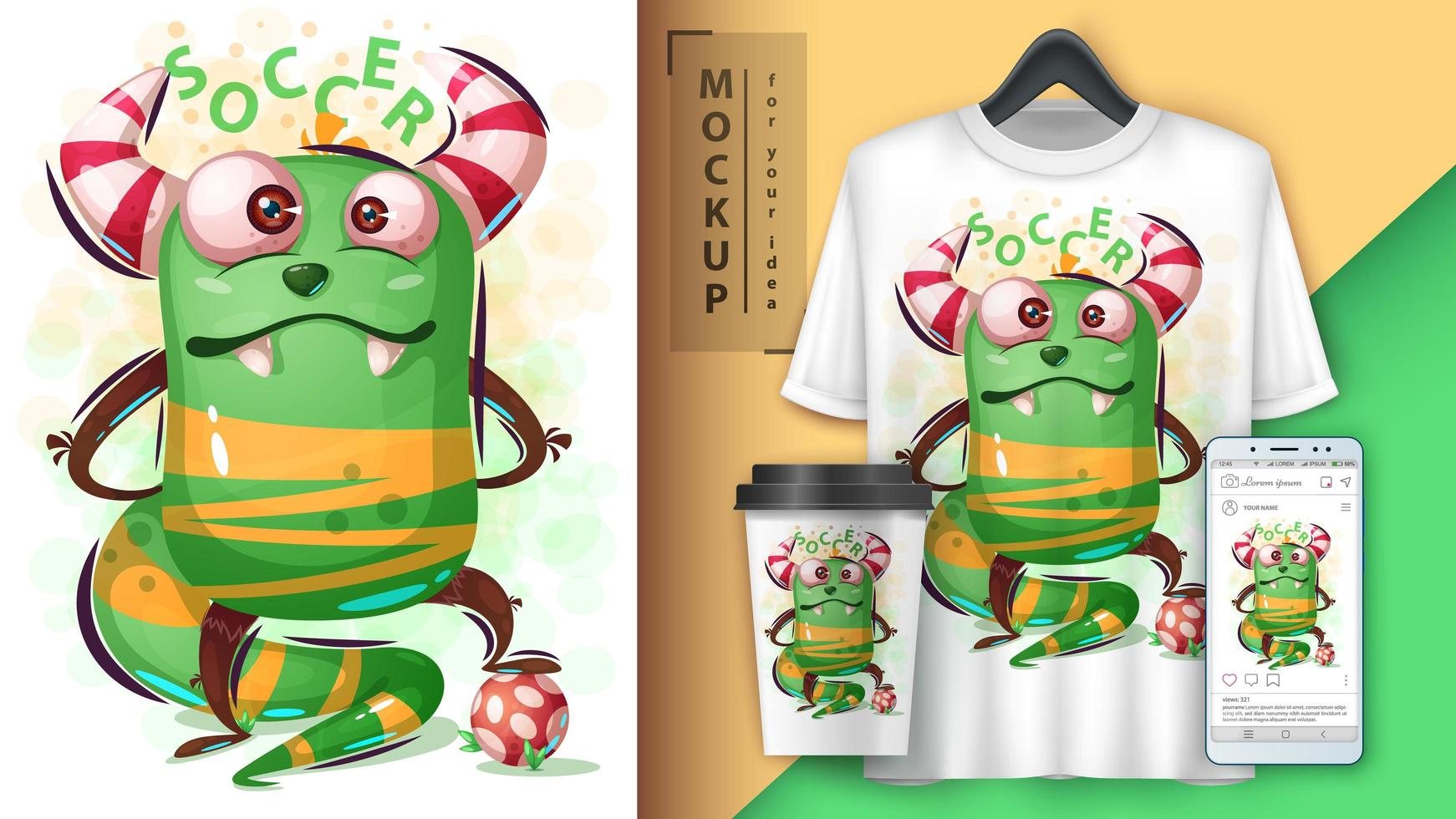 Cute Green Monster Playing Soccer vector