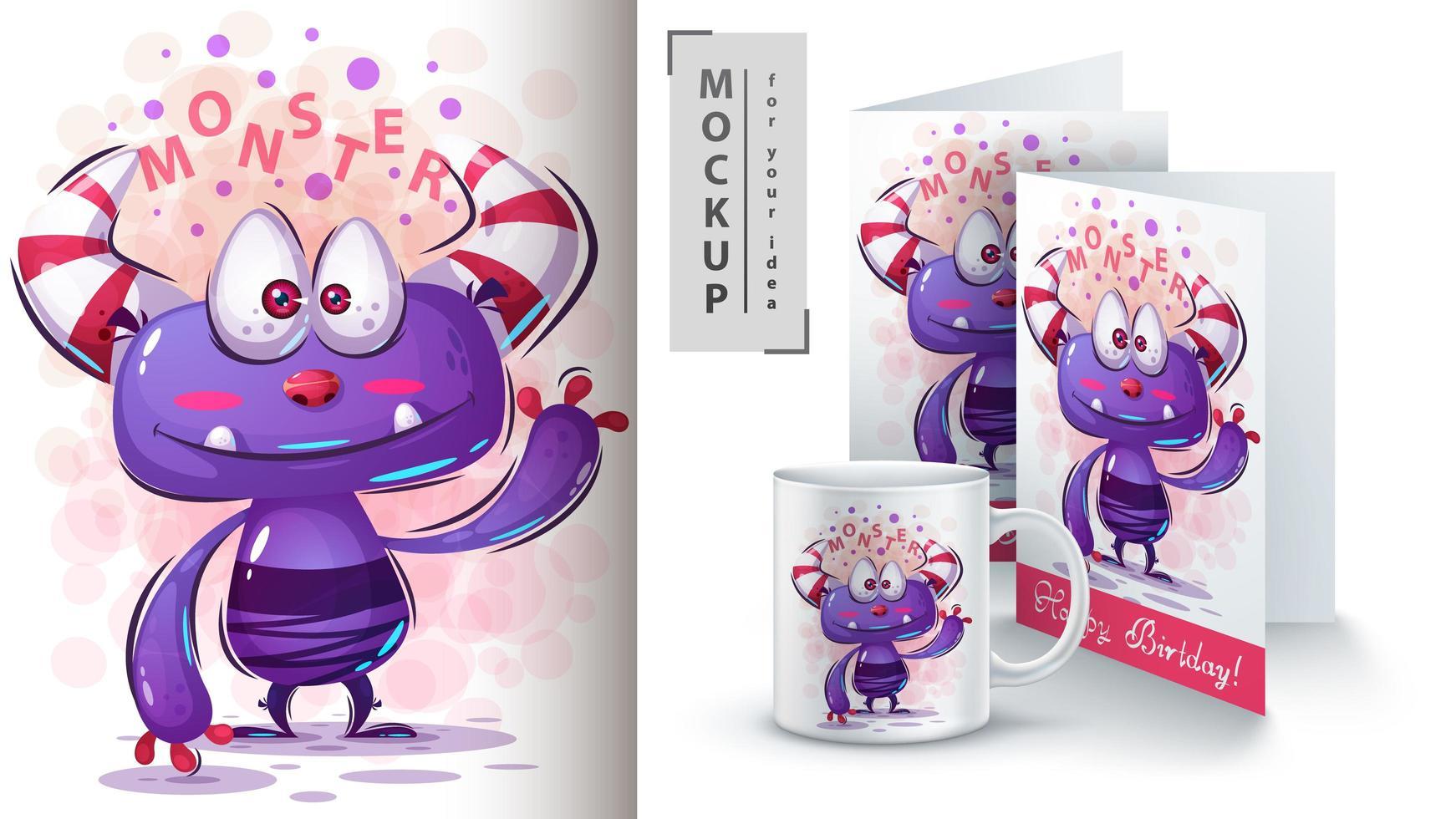 Cute Waving Purple Monster vector