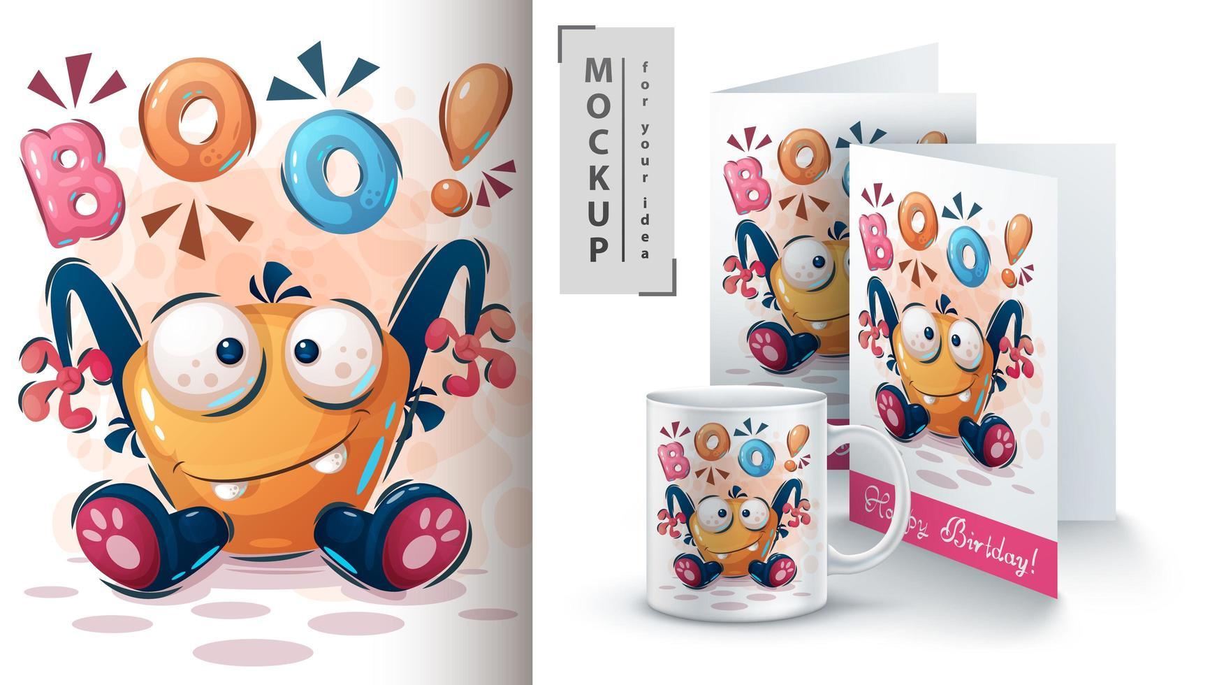 Sweet Halloween Monster Boo Poster and merchandising vector