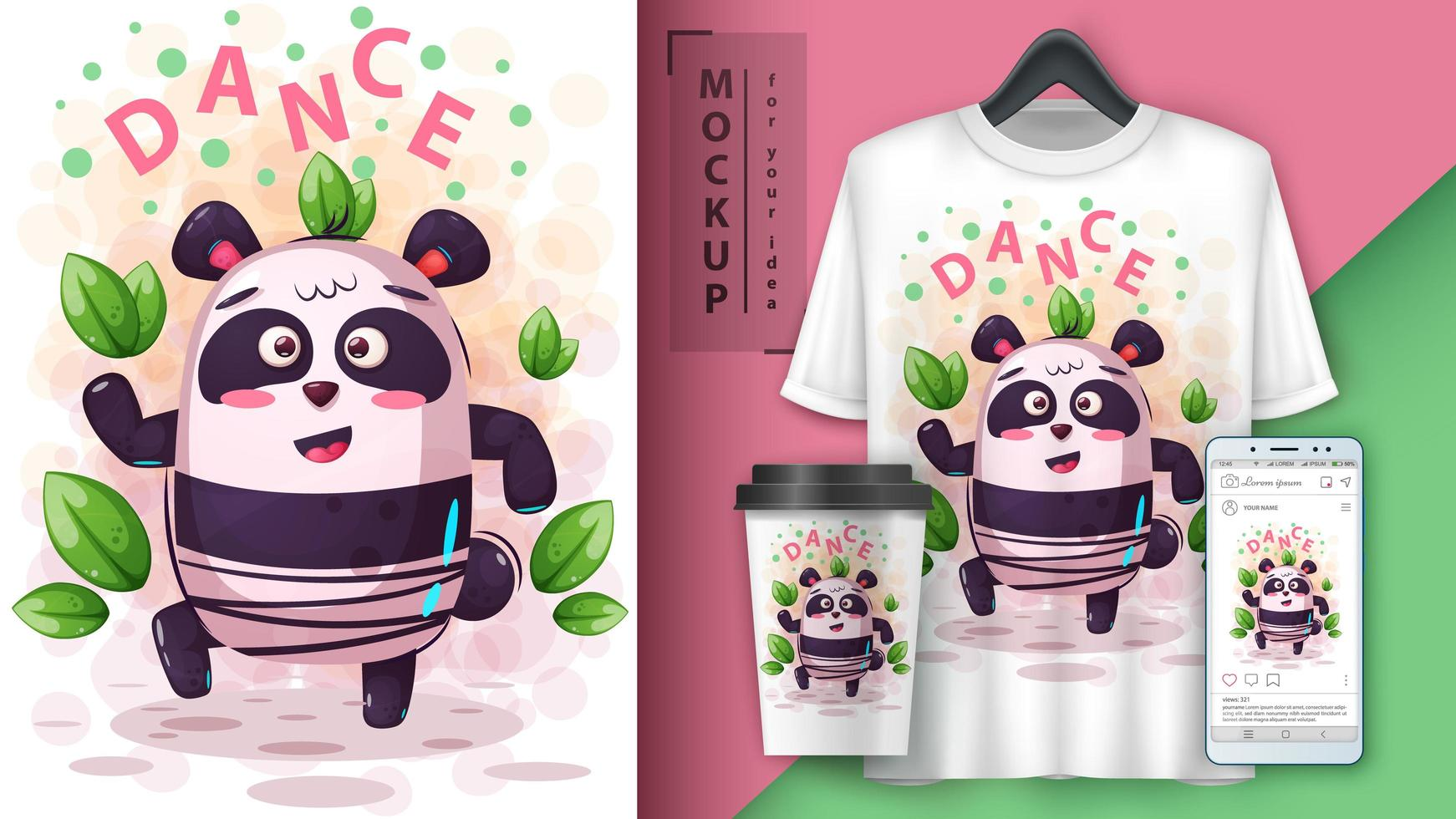 diseño de panda de música de baile vector