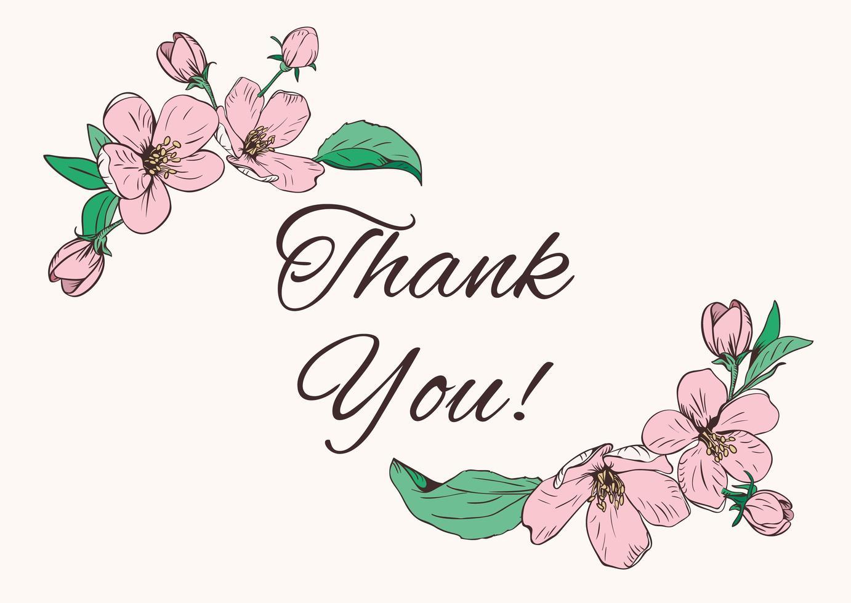 bloemen hoeken en bedankt tekst vector