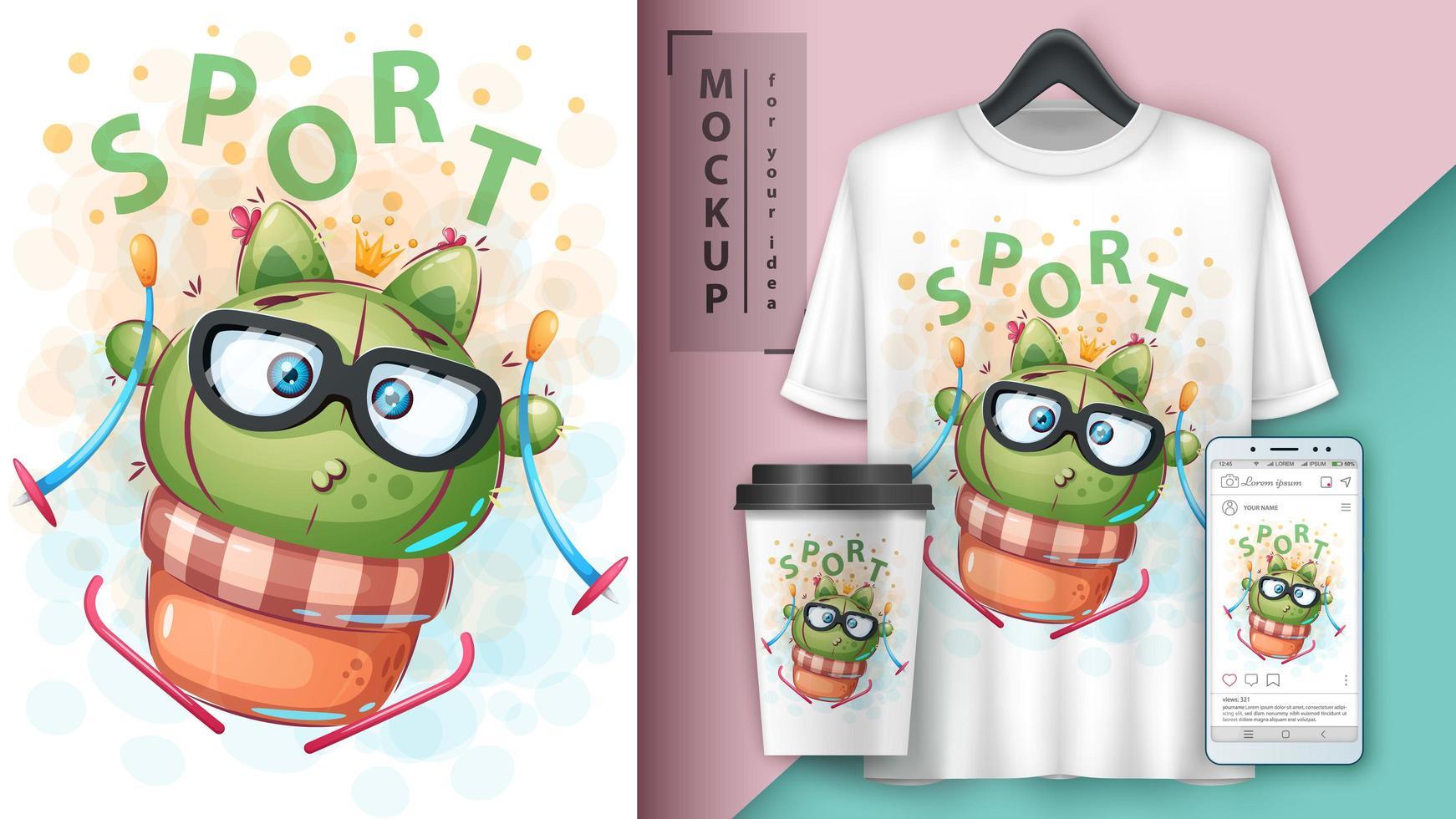 Sport Ski Cactus Cartoon Design. vector