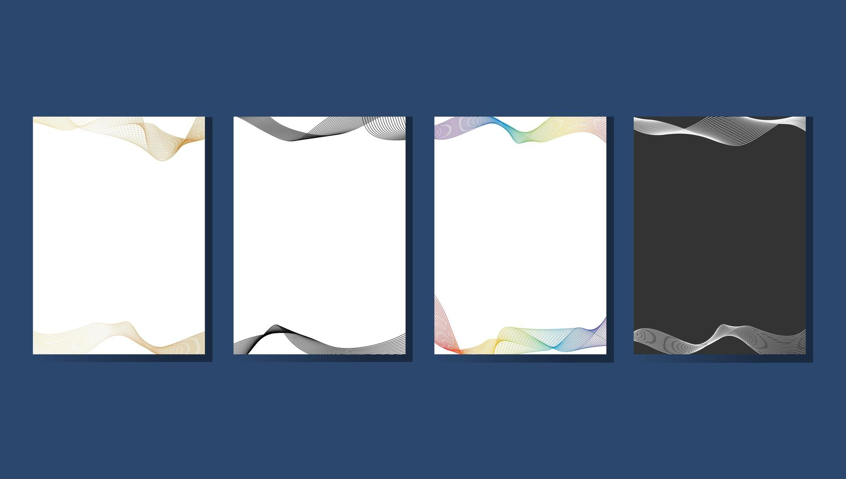 Collection of wave line art design templates vector
