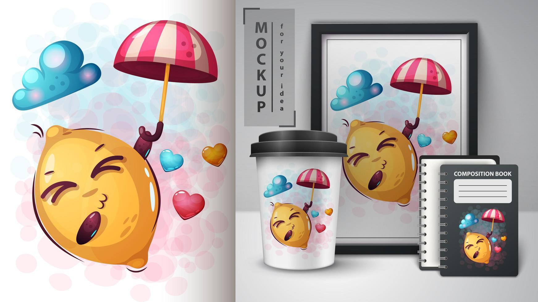 Cartoon Lemon with Umbrella Design vector