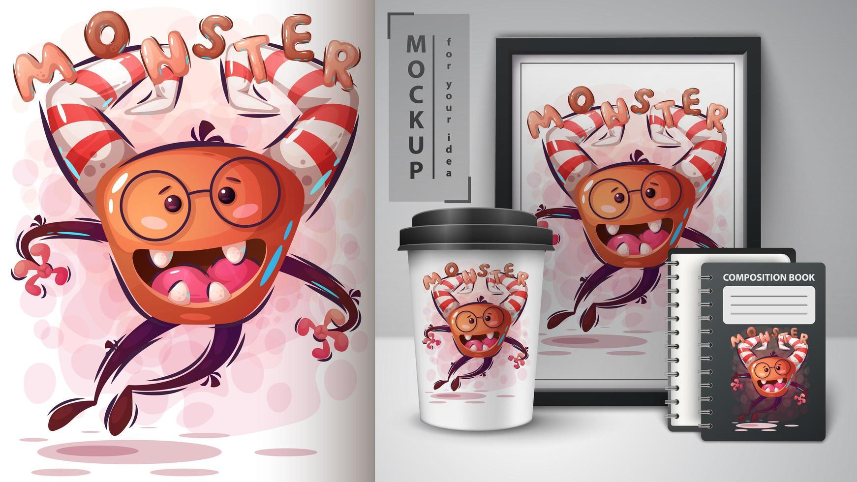 cartel de monstruo tonto y merchandising. vector