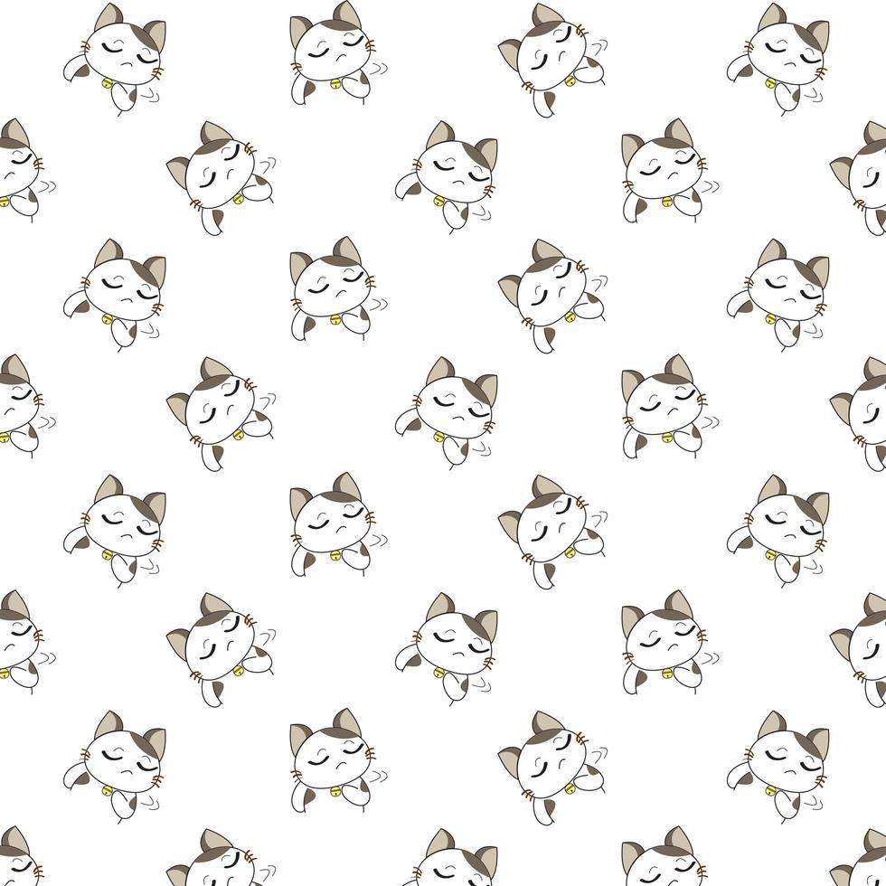 Cartoon Unhappy Cats Pattern vector