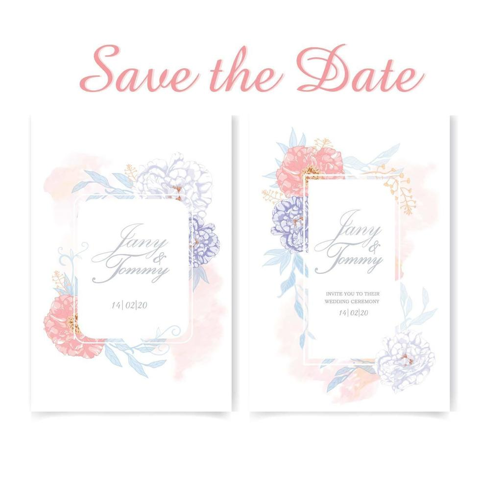 Floral wedding card set painted with watercolor vector