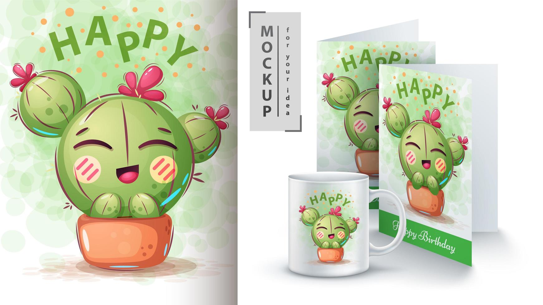Cactus with flower in pot design. vector
