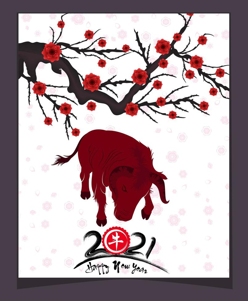 2021 Year of the Ox Poster with Branch and Blossoms vector
