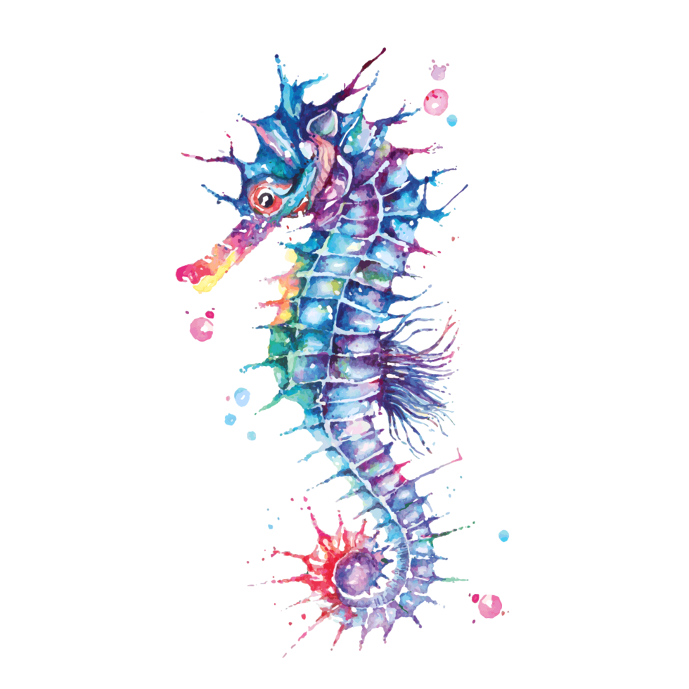 Seahorse painted with watercolor vector