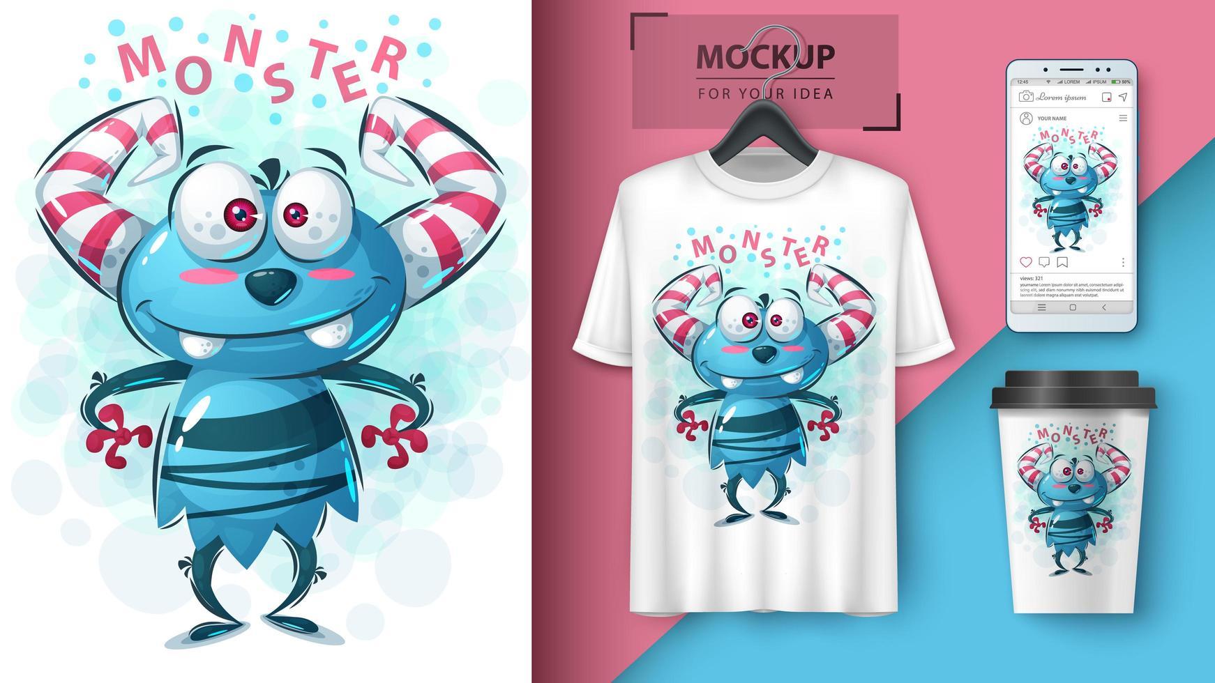 süßes blaues Monster mit Hörnerentwurf vektor