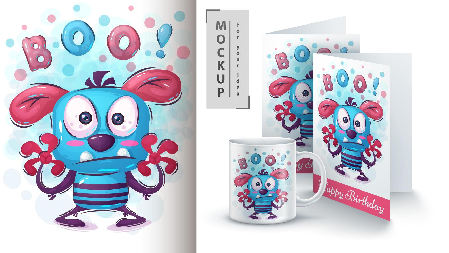Boo Monster Poster and Merchandising vector