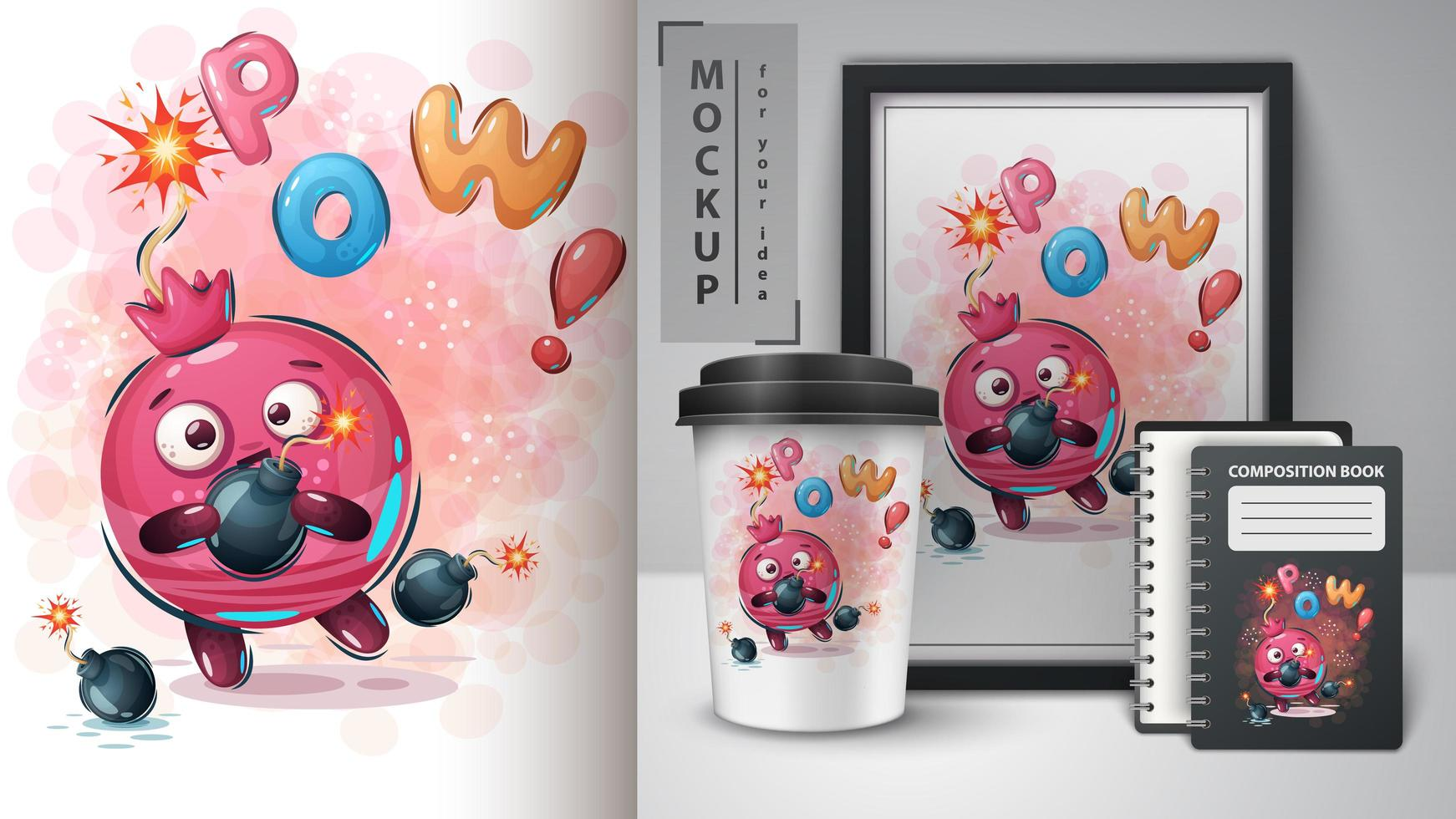 Pomegranate with Bomb Poster and Merchandising vector