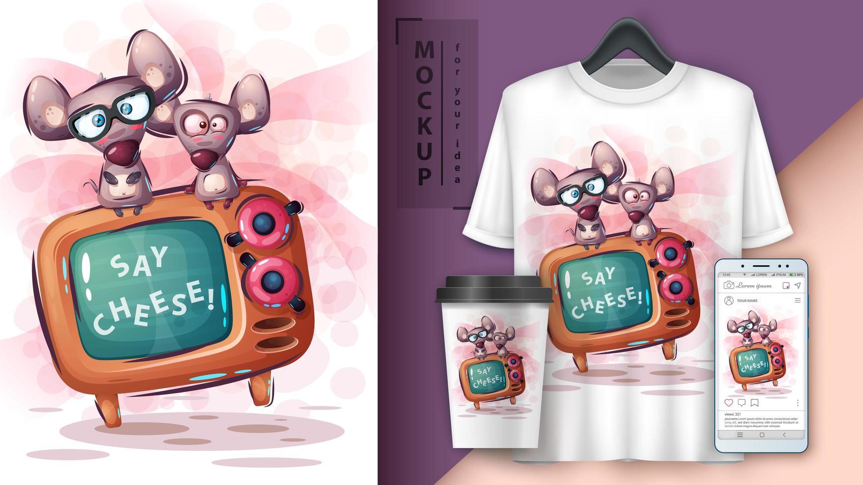 mouse y póster de tv y merchandising vector