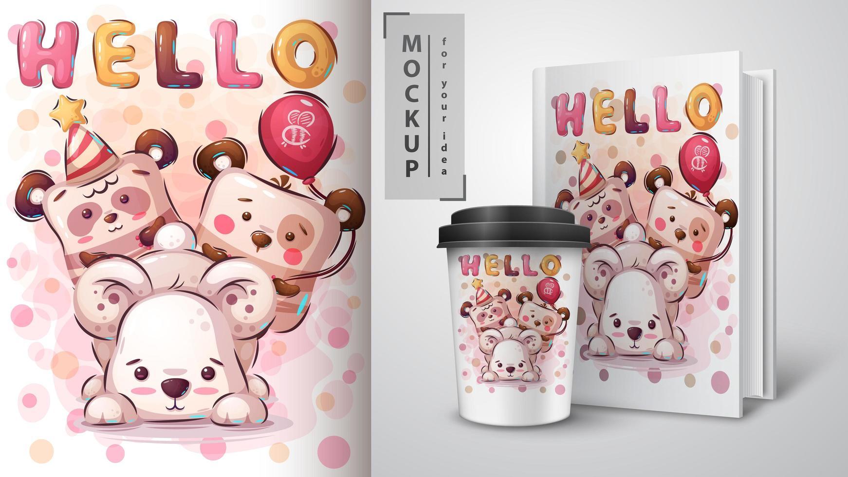 Teddy bear poster and merchandising vector