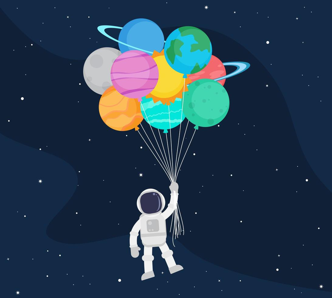 Astronaut cartoon floating with balloon planets in space vector