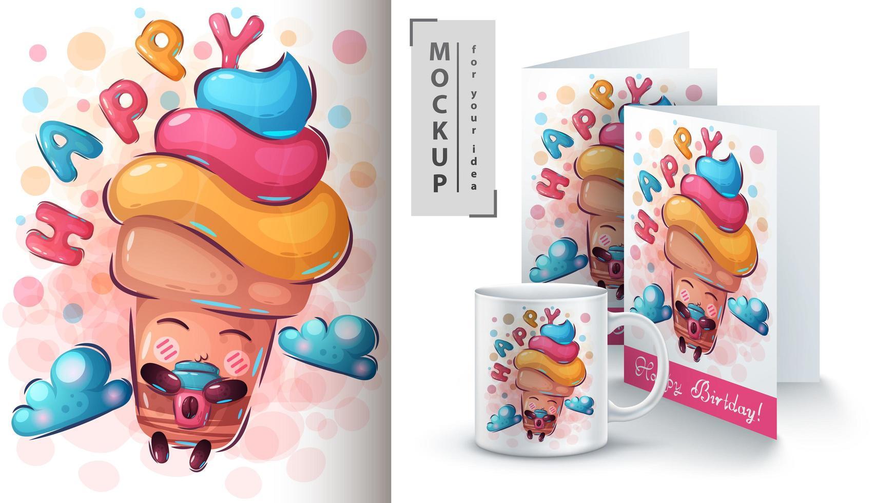 cartel de mosca de helado y merchandising vector
