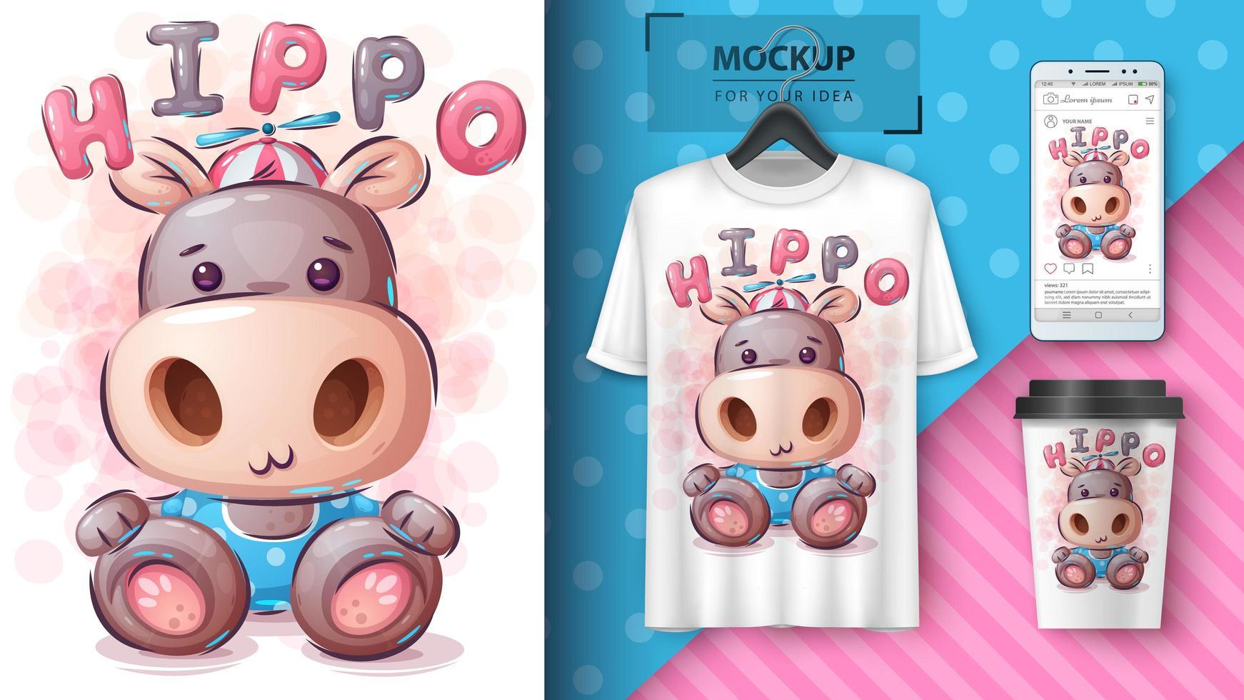 divertido póster de hipopótamo de peluche y merchandising vector