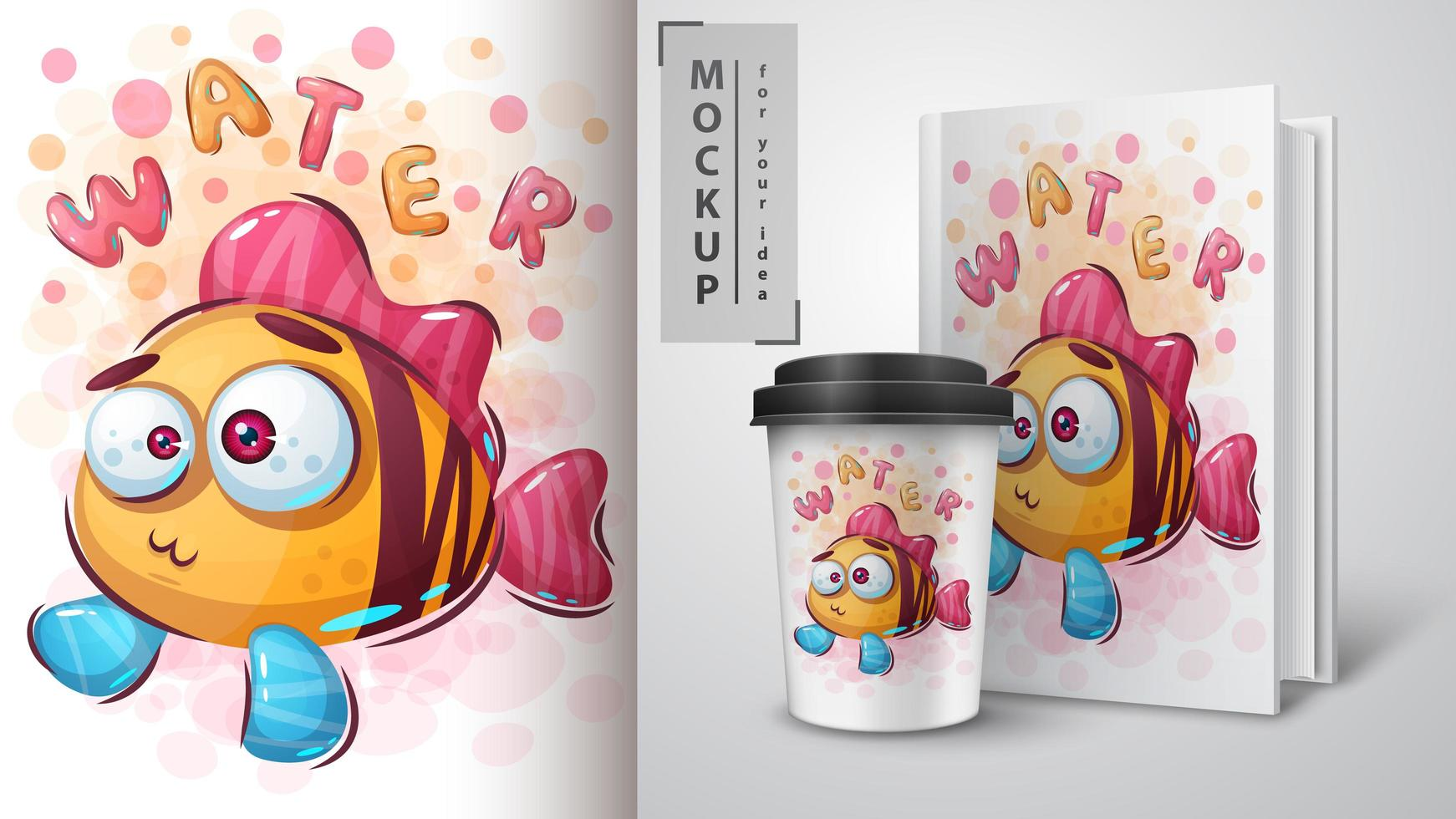 Funny Fish Poster and Merchandising vector