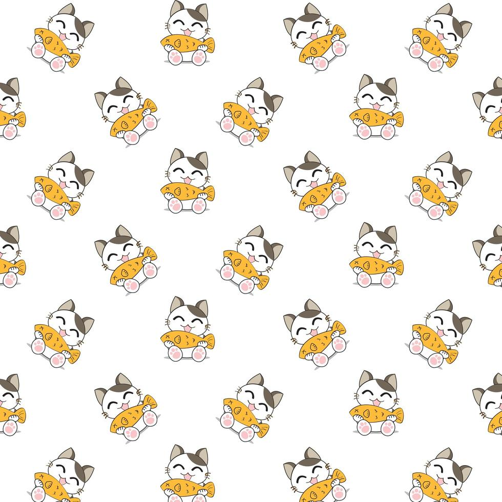 Cartoon Cats Eating Fish Pattern vector