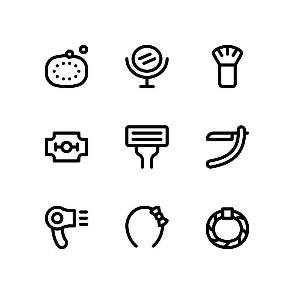 Beauty Line Icons with Mirror, Razors and More vector