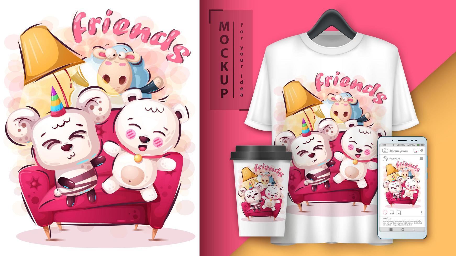lindo póster de amigos animales y merchandising vector