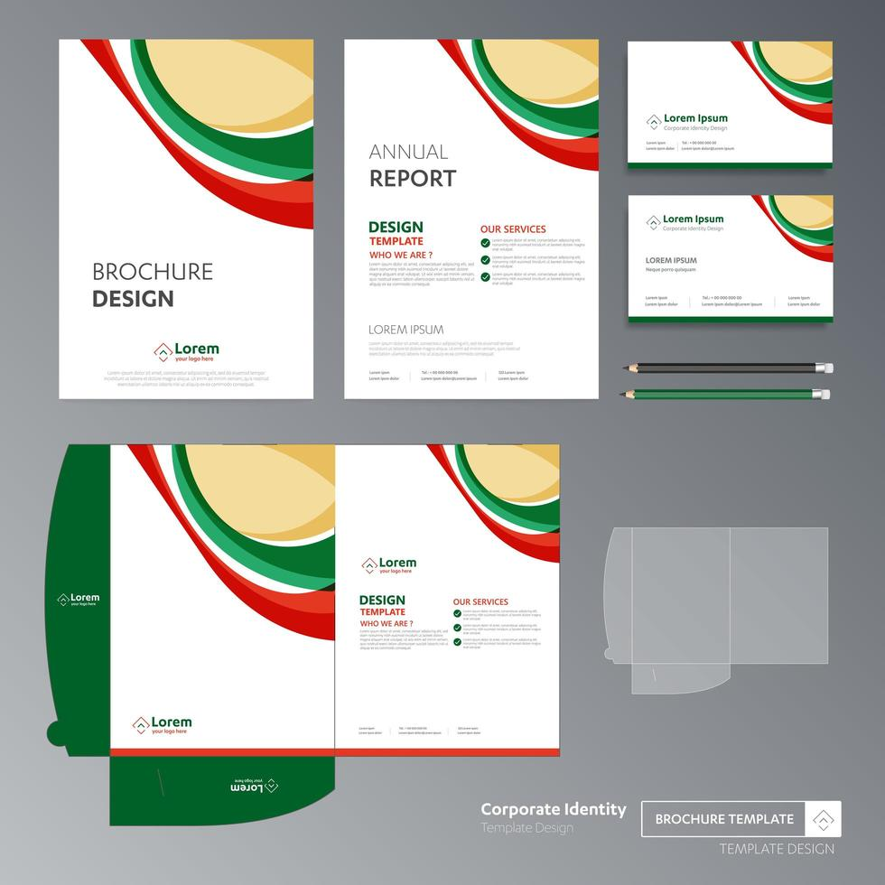 Red and Green Promotional Flyer Template Set vector