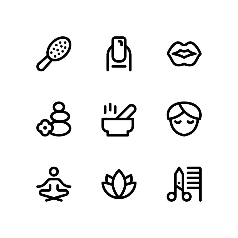 Beauty Line Icons with Lips, Scissors and More vector