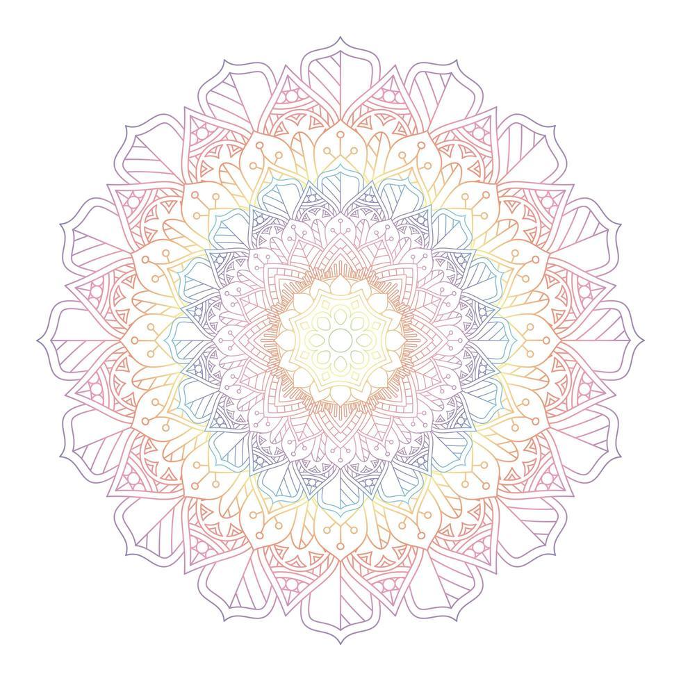 Rainbow Coloured Mandala Design vector