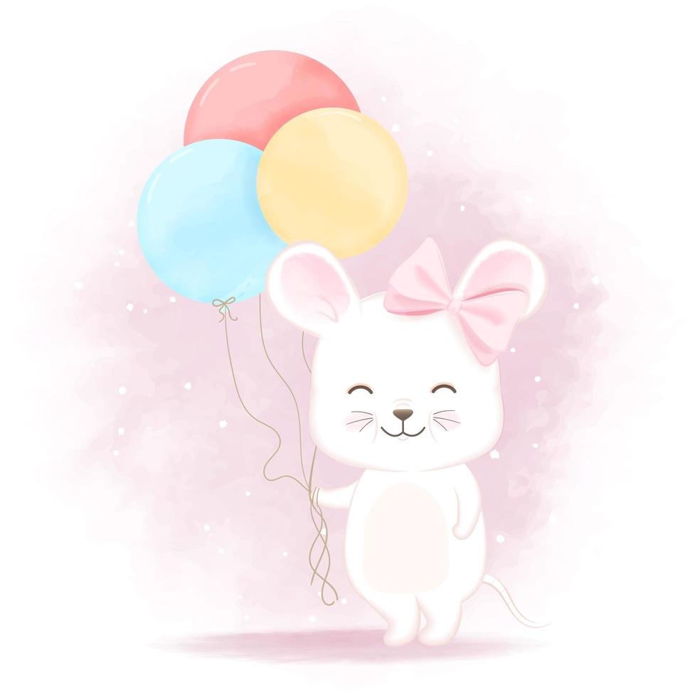 Mouse with balloon cartoon illustration vector