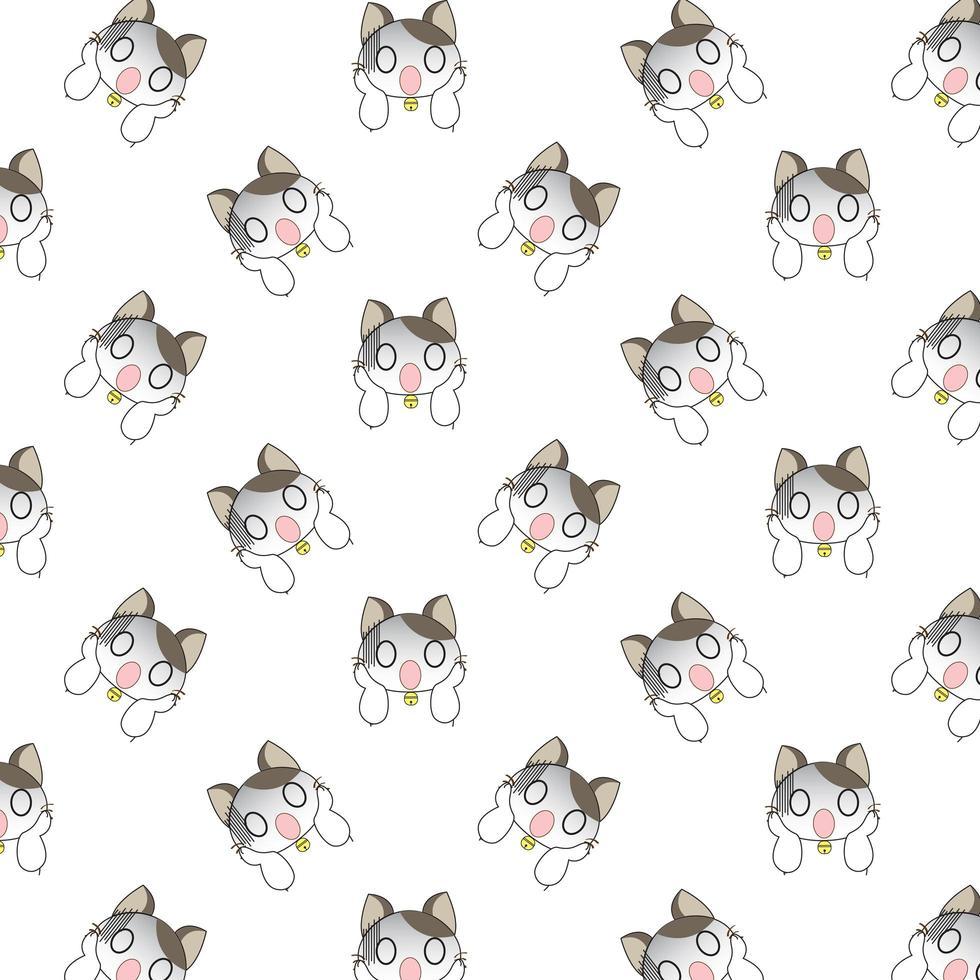 patrón de gatos sorprendidos dibujos animados vector
