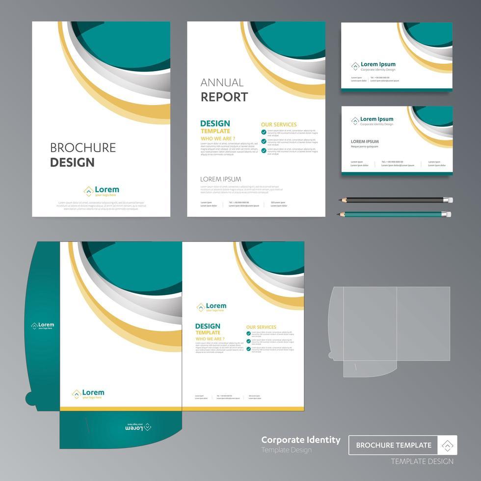 conjunto de plantillas de negocios de diseño de curva verde y amarillo vector