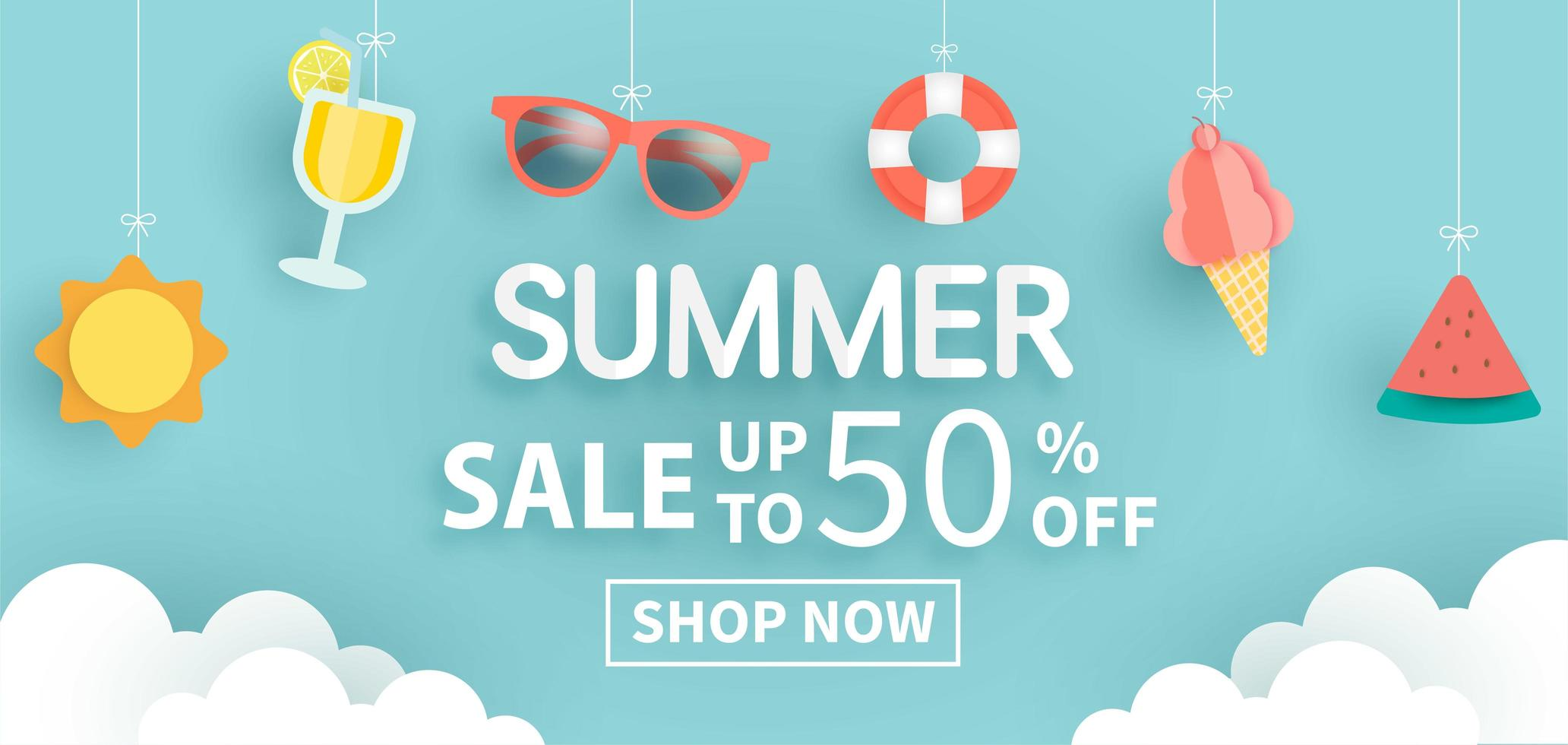 Sale Banner with Hanging Summer Elements vector