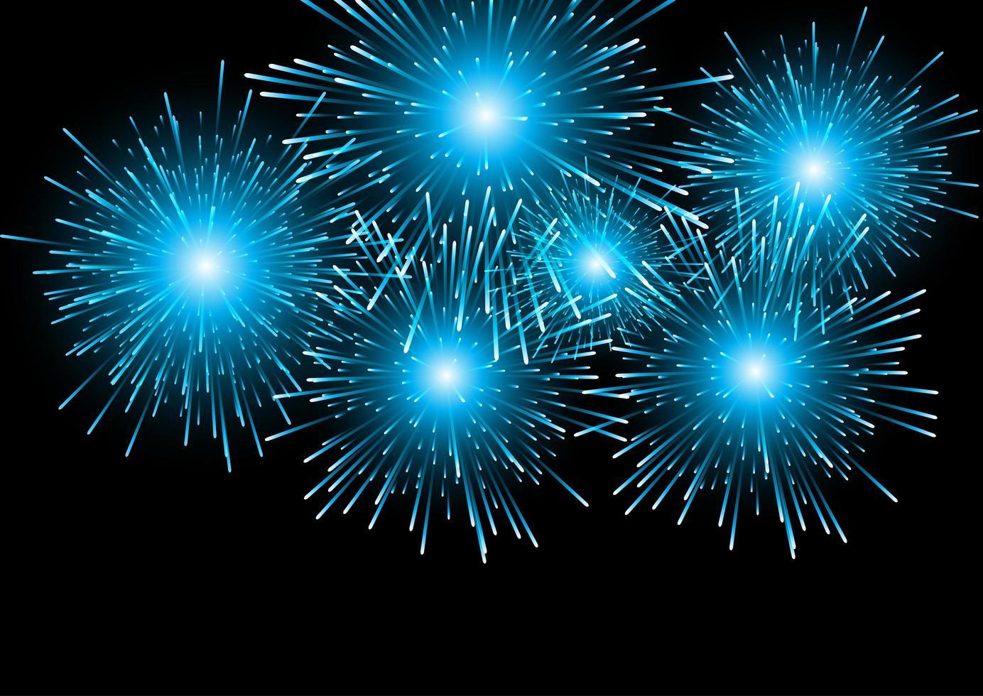 Blue Fireworks on Black vector