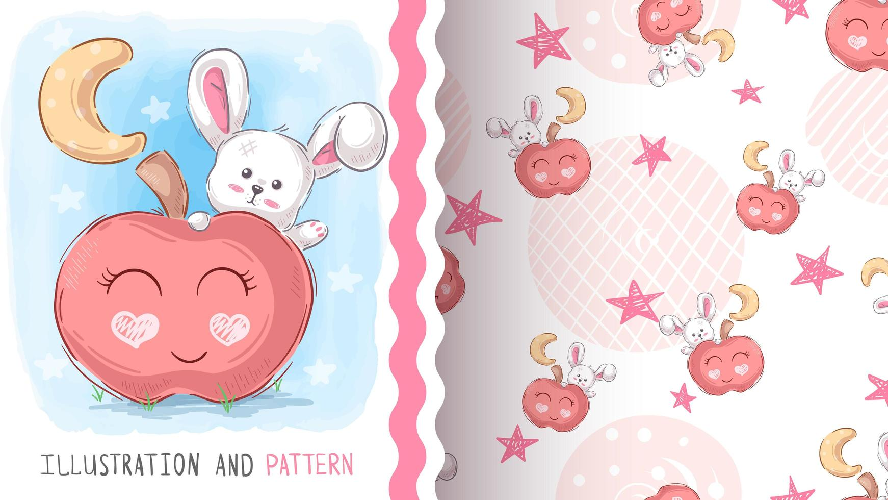 Rabbit with Apple Pattern vector